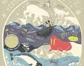 An Arctic Ecosystem: Terrarium Art Print