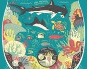 A Great Barrier Reef Ecosystem: Terrarium Art Print