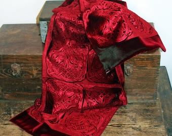 Deep Crimson Red Iridescent Velvet Celtic Embossed Wrap