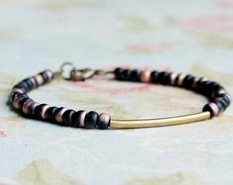 Bronze And Black Bracelet, Seed Bead Bracelet, Stacking Bracelet, Simple Bracelet, Beaded Bracelet, Minimalist Bracelet, Dainty Bracelet