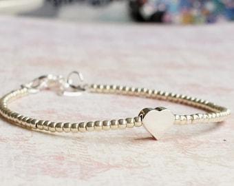 Sterling Silver Heart Bracelet, Silver Seed Bead Bracelet, Minimalist Bracelet, Stacking Bracelet, Simple Beaded Bracelet, Delicate Bracelet