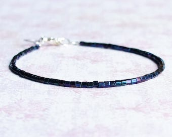 Dark Blue Seed Bead Bracelet, Stacking Bracelet, Minimalist Bracelet, Dainty Bracelet, Simple Bracelet, Delicate Bracelet, Hex Bead Bracelet
