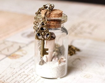 Message In A Bottle Necklace, Mini Bottle Necklace, Vial Necklace, Keepsake Necklace, Sand Bottle Necklace, Paper Scroll Necklace