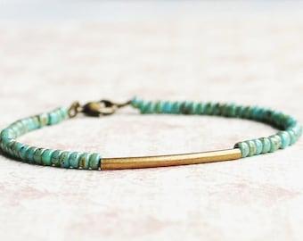 Bronze And Turquoise Seed Bead Bracelet, Minimalist Bracelet, Dainty Bracelet, Stacking Bracelet, Simple Bracelet, Beaded Bracelet