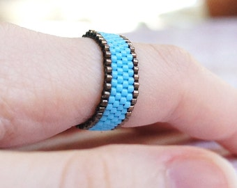 Seed Bead Ring, Peyote Ring, Beaded Ring, Seed Bead Band Ring, Woven Ring, Bead Ring, Delica Ring, Two Color Ring, Bronze And Turquoise Ring