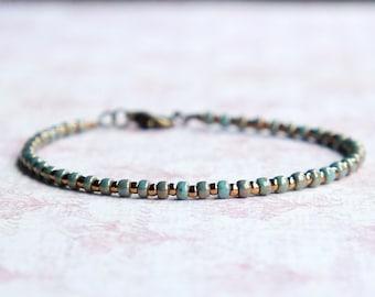Gilded Turquoise And Bronze Bracelet, Seed Bead Bracelet, Stacking Bracelet, Simple Bracelet, Beaded Bracelet, Minimalist Bracelet