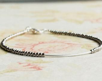 Dark Silver Bracelet, Seed Bead Bracelet, Stacking Bracelet, Silver Tube Bracelet, Minimalist Bracelet, Simple Bracelet, Beaded Bracelet