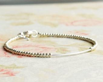 Silver Seed Bead Bracelet, Beaded Bracelet, Silver Tube Bracelet, Stacking Bracelet, Delicate Bracelet, Minimalist Bracelet, Dainty Bracelet