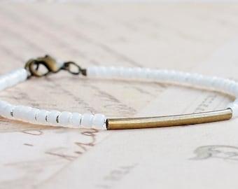 Bronze And White Bracelet, Seed Bead Bracelet, Stacking Bracelet, Minimalist Bracelet, Dainty Bracelet, Simple Bracelet, Beaded Bracelet