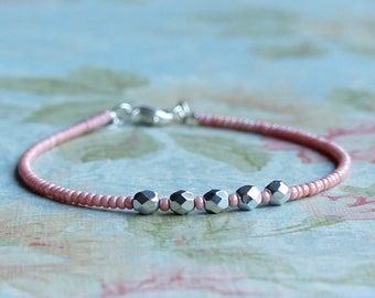 Pink Seed Bead Bracelet, Stacking Bracelet, Beaded Bracelet, Minimalist Bracelet, Dainty Bracelet, Simple Bracelet, Czech Beads Bracelet