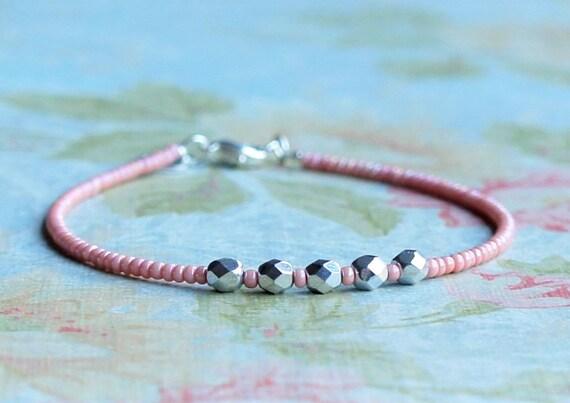 Delicate Layering Bracelet Dark Pink Seed Bead Bracelet Gold Filled Bar Bracelet Dainty Bracelet Stacking Minimalist Beaded Bracelet