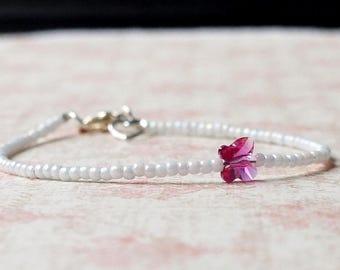 White And Pink Seed Bead Bracelet, Stacking Bracelet, Swarovski Butterfly Bracelet, Minimalist Bracelet, Simple Bracelet, Beaded Bracelet