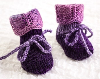KNITTING PATTERN Lace Fold Down Cuff Booties With I-Cord Ties f102d154ce9