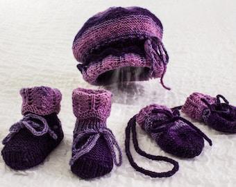 KNITTING PATTERN Baby Hat Lace Fold up Brim Hat I-Cord  e7905048f37
