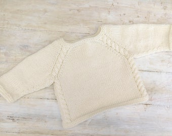 KNITTING PATTERN,  Top Down, Pullover, Sweater, Jumper, Baby, Toddler, Child, Cable Sweater, Seamless Sweater, 6 Sizes, Unisex, Raglan