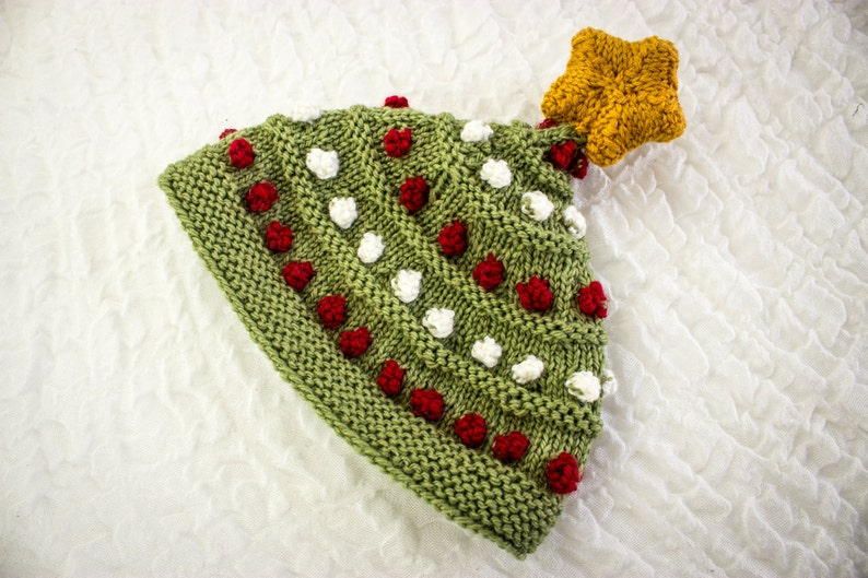 KNITTING PATTERN Knitted Baby Christmas Tree Hat Hat With image 0