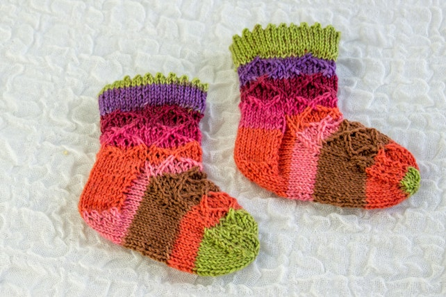 Knitting Pattern Baby Sock Pattern Baby Girl Sock Pattern Etsy