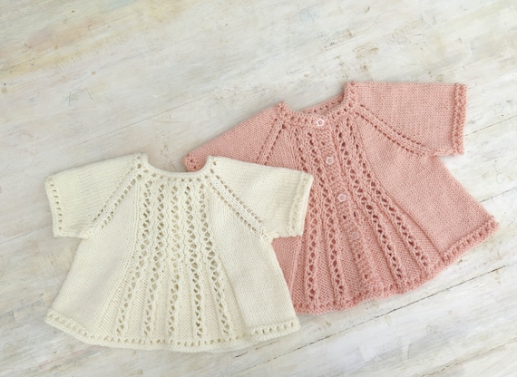 KNITTING PATTERN, Bobby's Girl Cardigan, Top Down Cardigan, 6 Sizes, Short & Long Sleeve Options, Lace Panel Cardigan, Baby, Toddler, Child
