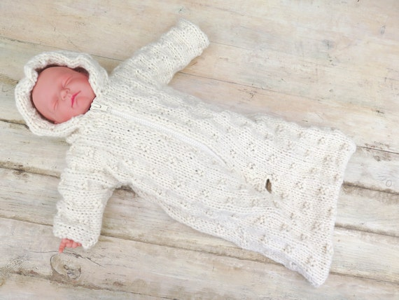 KNITTING PATTERN Baby Sleeping Bag Baby Bunting Hooded Baby