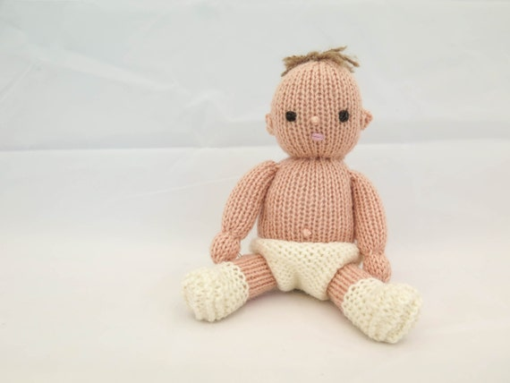 Knitting Pattern Baby Doll Softies Dress Up Doll Knitted Etsy