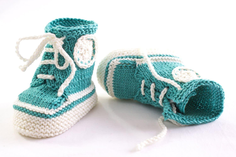 KNITTING PATTERN, PDF, Knit Sneaker Booties Pattern,Trainer Booties ...