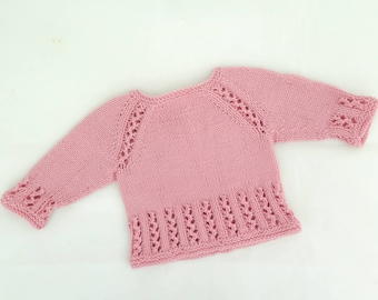 KNITTING PATTERN, Top Down, Pullover, Sweater, Jumper, Baby, Toddler, Child, Lace Sweater, Seamless Sweater, 6 Sizes, Girls Raglan Pullover