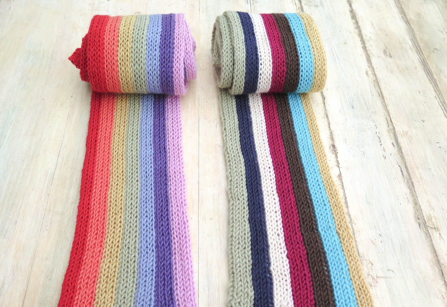KNITTING PATTERN, Vertical Stripe Scarves, End of the Rainbow ...