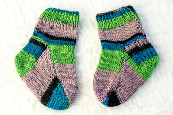 Knitting Pattern Two Needle Baby Socks Flat Sock Pattern Easy Baby