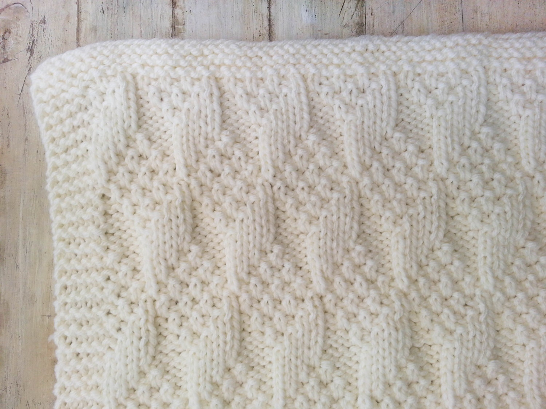 KNITTING PATTERN, Baby Blanket, Bulky Yarn, Modern Baby Blanket ...