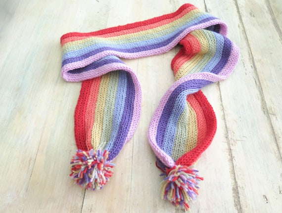 Knitting Pattern Vertical Stripe Scarves End Of The Rainbow Etsy