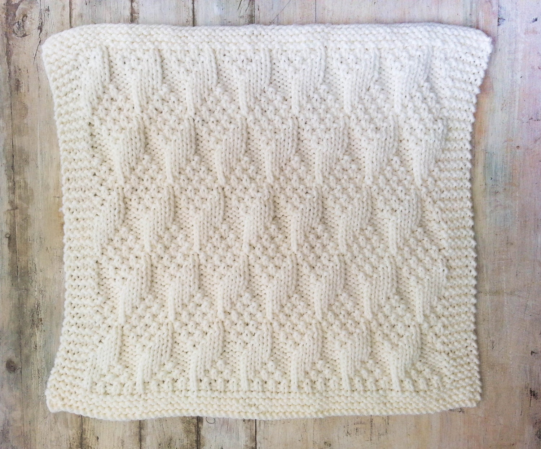 ff3eaf86ac61 KNITTING PATTERN Baby Blanket Bulky Yarn Modern Baby