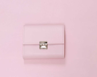 pink leather wallet, small leather wallet, powder pink wallet, cute leather wallet, leather wallets for women, unique wallet