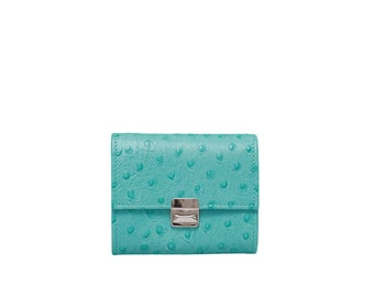 Ostrich turquoise wallet, turquoise womens wallet, turquoise wallet clutch, small wallet, leather wallets for women, unique womens wallet