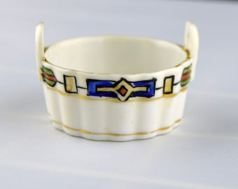 Nippon Japan Hand Painted 2-Handled Porcelain Open Salt with Gold Trim