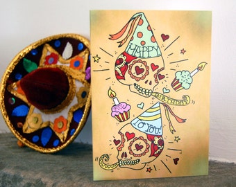 Sugar Skull Happy Birthday Card Day of the Dead, Mexican Tattoo