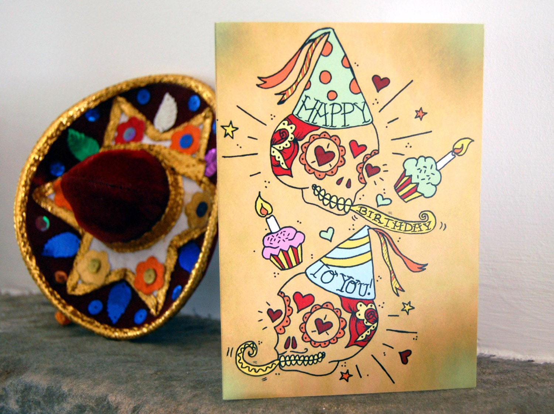 Sugar Skull Happy Birthday Card Day of the Dead Mexican   Etsy