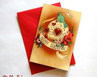 Happy Birthday Sugar skull card with tattoo scroll, Day of the Dead, Mexican, alternative