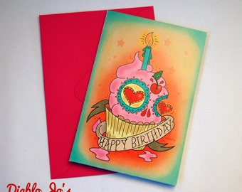 Sugar skull Cupcake Birthday card with tattoo scroll, Mexican, alternative, Day of the Dead