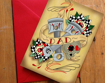 Hot Rod Father's day Card with Pinstriping, Sugar skull 50's Rockabilly Birthday card