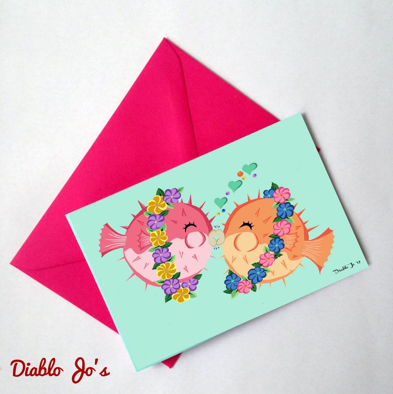 Vintage card Rockabilly Anniversary Alternative Tiki Pufferfish wedding Congratulations Retro style