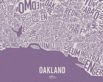 """OAKLAND and its 146 Neighborhoods — 25x16"""" Map Poster — Screen Print"""
