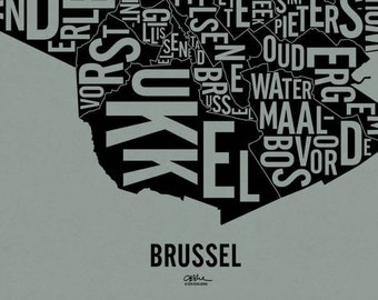 """BRUSSEL and its 19 Communes — 17x20"""" Map Poster — Screen Print"""