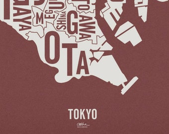 """TOKYO and its 23 Special Wards — 20x23"""" Map Poster — Screen Print"""
