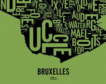 """BRUXELLES and its 19 Communes — 17x20"""" Map Poster — Screen Print"""