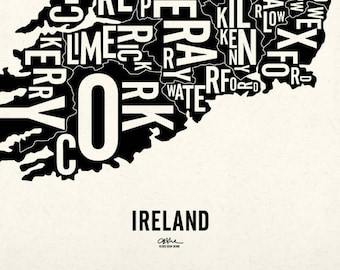 """IRELAND and its 26 Counties — 19x25"""" Map Poster — Screen Print"""