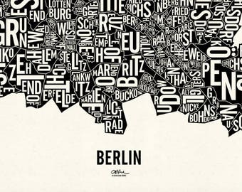 """BERLIN and its 95 Localities — 22x19"""" Map Poster — Screen Print"""