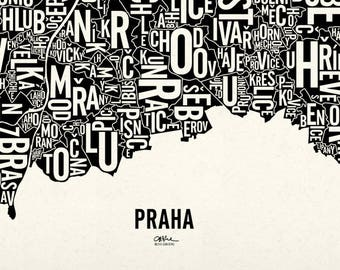 """PRAGUE and its 112 Cadastres — 26x22"""" Map Poster — Screen Print"""