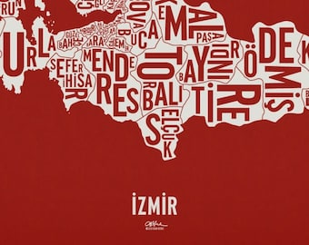 """İZMİR and its 30 Districts — 20x21"""" Map Poster — Screen Print"""