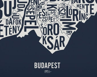 """BUDAPEST and its 23 Districts — 20x21"""" Map Poster — Screen Print"""