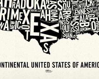 """USA and its 48 Contiguous States — 25x19"""" Map Poster — Screen Print"""